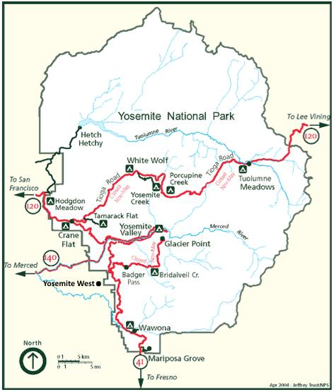 Map of Yosemite National Park