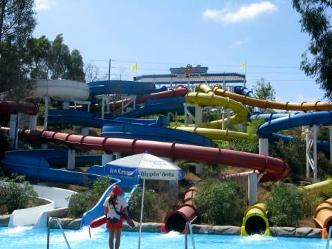 Water slides at waterpark