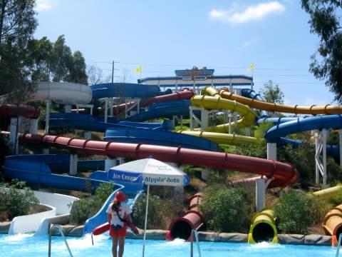 Water slides at waterpark